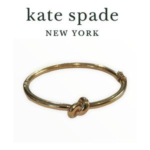 Kate Spade Gold tone knot hinge bangle bracelet